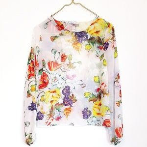 #131 White Rose Floral Sheer Chiffon Top Small